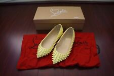 Auth CHRISTIAN LOUBOUTIN 35 Pigalle Spikes Flat Patent Calf Yellow Pointy Shoes