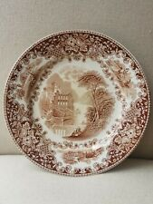 """Petrus Regout 19th Century Plate Castillo Pattern in Hard To Find Brown 9"""""""