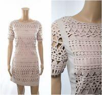 ex Mint Velvet Natural Stone Geo Mesh Lace Crochet Shift Dress RRP £119