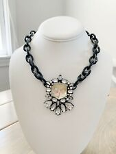 Steve Madden  Gray / Black Chain Choker Necklace Wirh Large Rhinestone Pendant