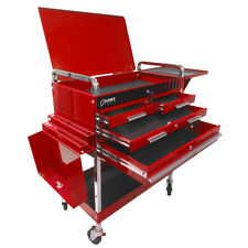 Sunex 8013Adeluxe Deluxe Service Cart 4 Drawer with Flip Top Locking Lid - Red