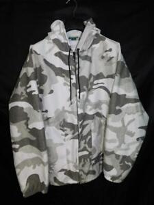 Cabela's XL Gray White Winter Snow Camo Jacket Quiet Fleece Full Zip Hood Pocket