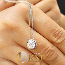 14k White Gold Round Cut Diamond Bezel Set Solitaire Necklace And Chain 0.70ct