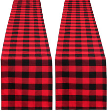 MoKoHouse Buffalo Plaid Table Runner 2 Pieces 13 x 84 inch Black and Red Plaid T