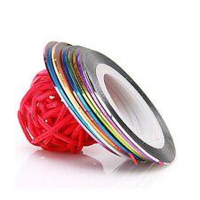Lot 10 couleurs différentes striping fil autocollant sticker nail art ongles
