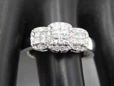 1.15 ct Princess 3 Stone Illusion Halo Diamond Engagement Ring Designer 14k D/SI