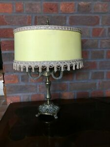 Vintage Brass Candelabra Table Lamp - with shade