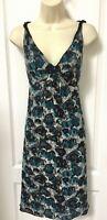 Alfani Size 8 Medium M 100% Silk Blue Black Gray Green Beige Floral Dress