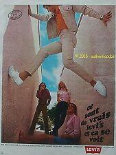 PUBLICITE LEVI'S LEVI STRAUSS JEANS PANTALON LEVIS VELOUR USA DE 1969 FRENCH AD