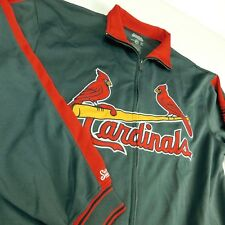 St Louis Cardinals Gray Track Jacket Sz L Embroidered Stitches MLB