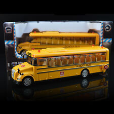 New 1:55 KDW Yellow School Bus toy Diecast metal Model pullback racers music XG