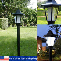 Solar Power LED Path Way Wall Landscape Garden Fence Lamp Post Outdoor Light