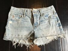 abercrombie Kids Girls Light wash shorts Jeans size 16 with accent stones