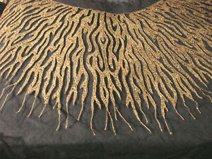 Antique NOS Dressmaker Beaded Netting BLACK SILVER Cape Coat Trim EC Applique