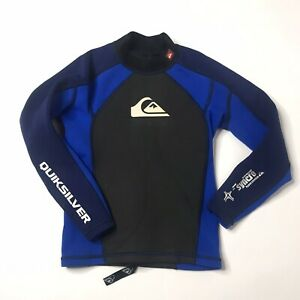 quicksilver syncro youth 10/152 wetsuit top Hyperstretch Black Blue