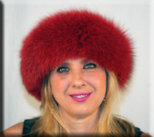 New Cranberry Red Fox Fur Headband 26 Inches Long and 5 Inches Wide