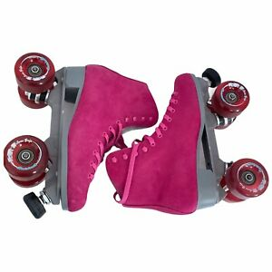 Sure Grip Boardwalk Pink Suede Roller Skates Outdoor Quad Mens 7 / Womens 8 8.5