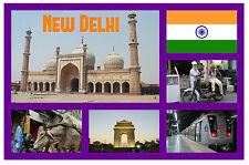 DELHI, INDIA - RECUERDO ORIGINAL IMÁN DE NEVERA - MONUMENTOS / CIUDADES