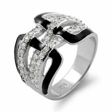 Black Onyx Round Cubic Zirconia Anniversary Wedding Band 925 Silver Ring Sz 5-5