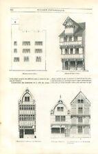 Architecture Moyen Age Maison à Colombages Metz Caen Rouen Beauvais GRAVURE 1840