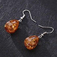 Retro Natural Polished Baltic Sterling Amber Color Earrings Charm Women Jewelry