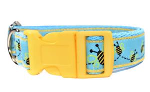 Embroidered Bumble Bee Yellow Blue Nylon Dog Collar Boy Girl Medium Large