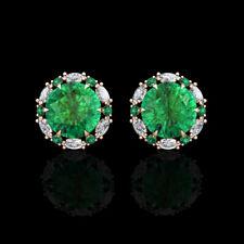 2.00CT Green Emerald Halo Marquise Created Diamond Stud Earrings 14k Rose Gold
