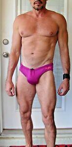 Men's Fuschia N2N Bodywear Swim Brief Large Speedo Style NWT