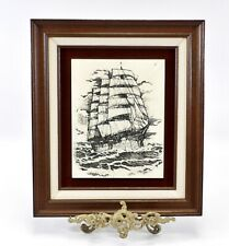 Scrimshaw Style Etched Tall Ship on the High Seas Tile Plaque Framed UNIQUE