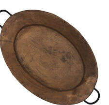 """New listing Imax Rustic Old World Hammered Copper Riveted Iron Handles Oval Tray Platter 19"""""""