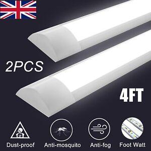 2PCS 4FT LED Batten Tube Light For Garage Workshop Ceiling Panel Lamp 36w 6500K