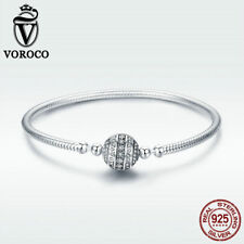 Voroco Delicate 925 Sterling Silver Charm Bracelet Snake Chain Fashion Jewelry