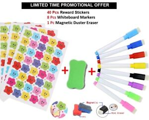 Magnetic Marker Pens 8 Color White Board Markers Dry Easy Wipe Duster Free+Promo