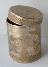 Antique Collectible Silver Plated Box Marked N 3 on Bottom Engraved Folk Man
