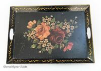Vintage Folk Art Tole Painted Large Serving Tray - Black Floral Design