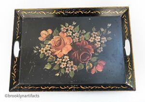 Vintage Folk Art Tole Painted Large Serving Tray - Black Floral Design