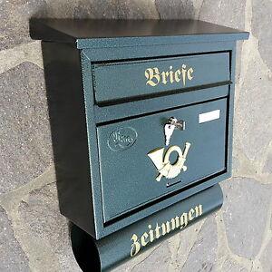 Moderner großer Briefkasten / Postkasten in Grün + Zeitungsfach Katalogeinwurf P