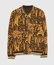 NWT Zara Men Jacquard Jacket Bomber Varsity Golden Skull Eagles Size M Medium