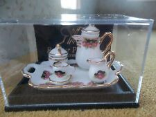 Reutter porcelain Dolls House 1:12th Scale Coffee Tray Black Rose 16488