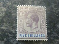 BAHAMAS POSTAGE STAMP SG88 FIVE SHILLINGS DULL PURPLE & BLUE UN MOUNTED MINT