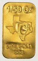 GOLD 1  /5O th TROY OUNCE OZ 24K PURE SOLID PREMIUM BULLION BAR 999.9 FINE INGOT