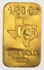 GOLD 1/50 th TROY OUNCE OZ 24K PURE SOLID PREMIUM BULLION BAR 999.9 FINE INGOT