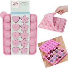 20 Cake Pop Mould Heart/Star/Round Silicone Tray Lollipop Baking Sheet 20 Sticks