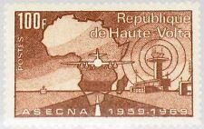 Upper VOLTA Alto Volta 1969 281 204 Akué Airport Airplane MAP MAPPA Plane MNH