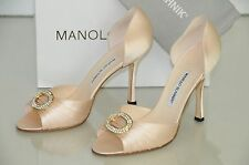 New MANOLO BLAHNIK SEDARABY Flesh Pale NUDE PINK Satin Jeweled SHOES 40 Wedding