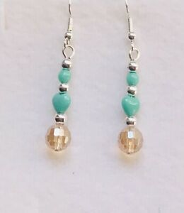 Stunning Turquoise Topaz Crystal Drop Earrings