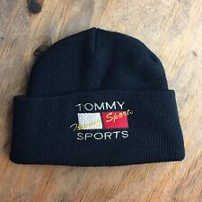 BOOTLEG 90s TOMMY HILFIGER SPORTS Folded Beanie Black Vintage Size S / M