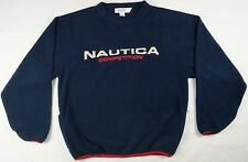 Rare VTG NAUTICA COMPETITION Embroidered Spell Out Fleece Sweatshirt 90s Navy XL