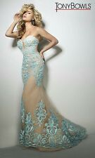 Tony Bowls Prom Dress Party  Evening  Long Sexy Color Nude Blue Size 6
