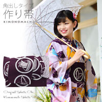 Japanese Woman Kimono Yukata Pre-tied Obi Purple Round Print Kyoto Original New